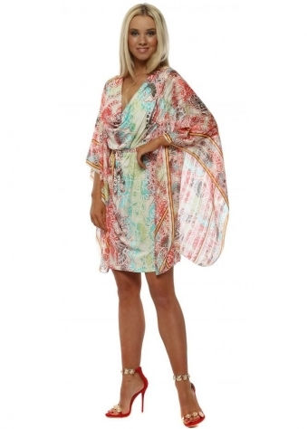 White Lotus Print Drape Kaftan Tie Dress