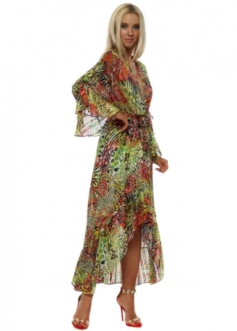 Lime & Red Exotic Animal Print Wrap Front Frill Maxi Dress
