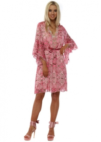 Pink Marble Print Embellished Tunic Dress