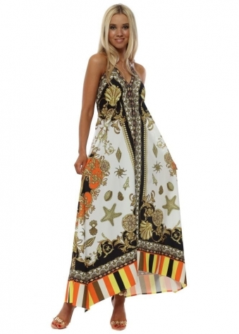 Orange Stripe Seashell Print Maxi Dress