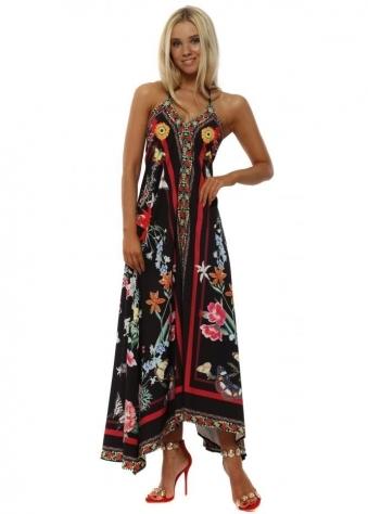 Black Butterfly Print Halterneck Maxi Dress
