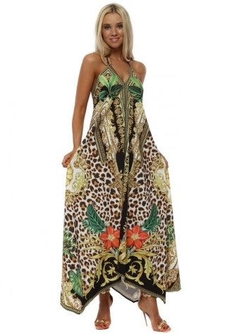 Black & Gold Exotic Print Maxi Dress