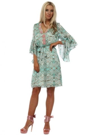 Turquoise Marble Print Embellished Tunic Dress