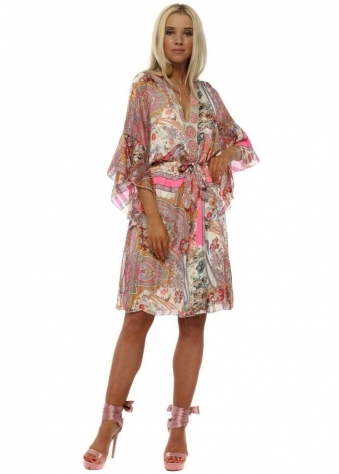 Pink Paisley Print Embellished Tunic Dress