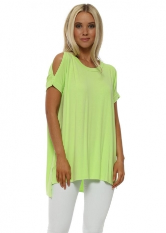 Dannie Lime Cold Shoulder Tunic Tee