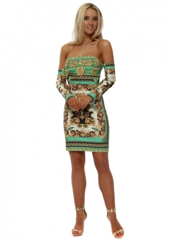 Green Scarf Print Mini Dress
