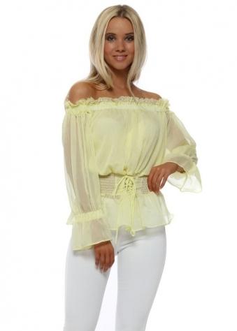 Yellow Chiffon Bardot Top