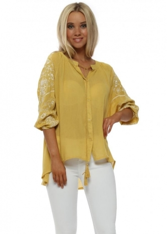 Mustard Embroidered Sleeve Shirt