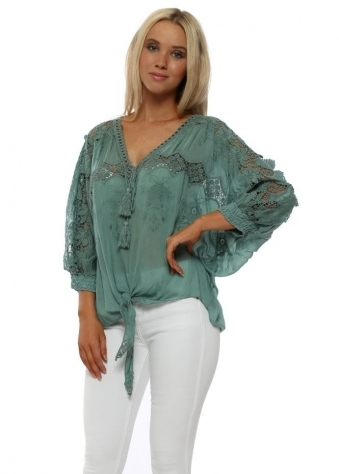 Green Floral Crochet Lace Tie Front Top