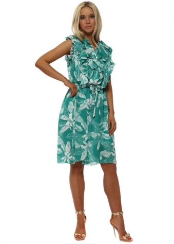 Green Tropical Leaf Ruffle Dress