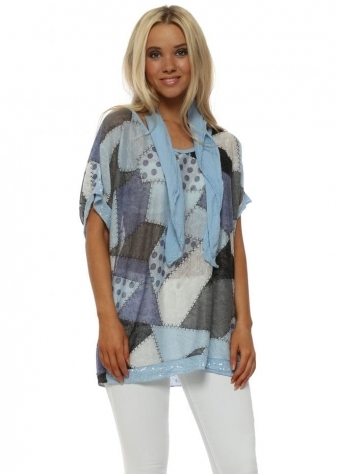 Baby Blue Patchwork Print Top With Scarf