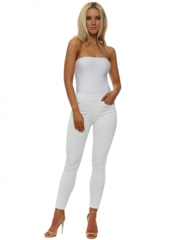 White Stretch Fit Back Zip Ankle Grazer Jeans