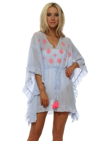 Baby Blue Neon Embroidery Frilly Kaftan Top