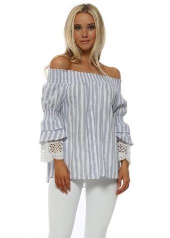 Blue & White Striped Lace Cuffs Bardot Top