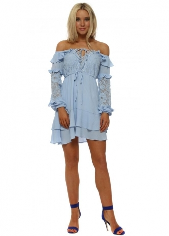 Blue Bardot Lace Ruffle Mini Dress