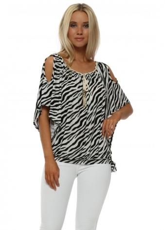 Zebra Print Cold Shoulder Top