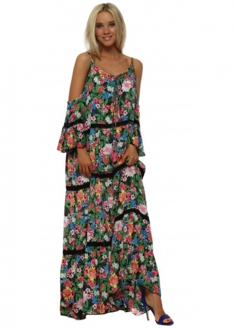 Lea Multicoloured Floral Print Tiered Maxi Dress
