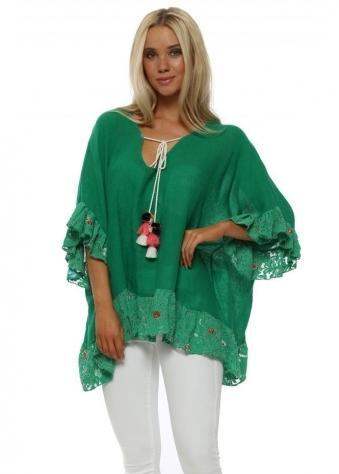 Green Linen Floral Lace Trim Kaftan Top