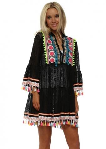 Black Lace Neon Pom Pom Beach Dress