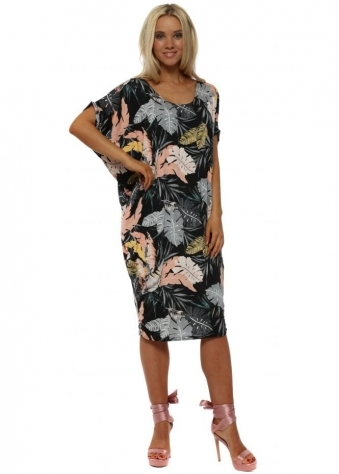 Black Palm Print Tunic Dress