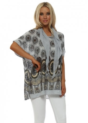Grey Paisley Print Top With Scarf