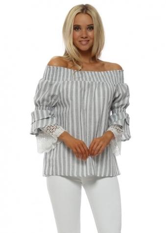 Grey & White Striped Lace Cuffs Bardot Top