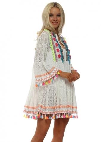 White Lace Neon Pom Pom Beach Dress