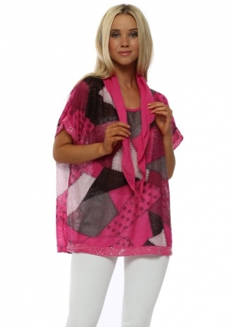 Fuchsia Patchwork Print Top With Scarf
