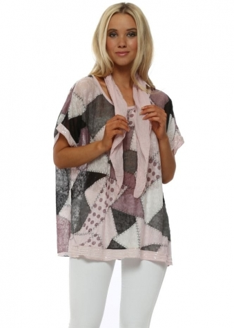 Baby Pink Patchwork Print Top With Scarf