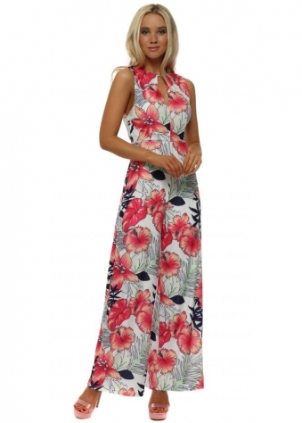 White & Pink Tropical Flower Print Jumpsuit