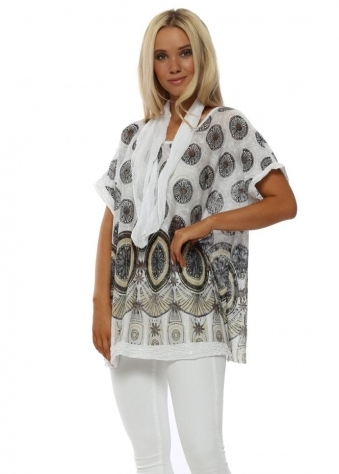 White Paisley Print Top With Scarf