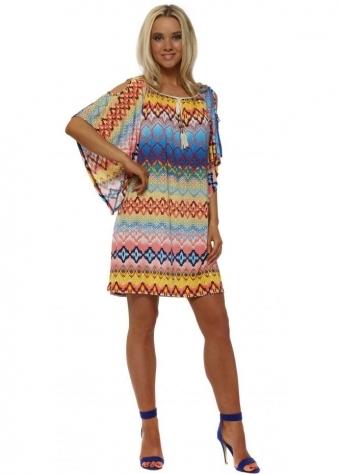Blue Aztec Print Cold Shoulder Tunic Dress