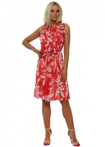 Red Tropical Leaf Ruffle Dress
