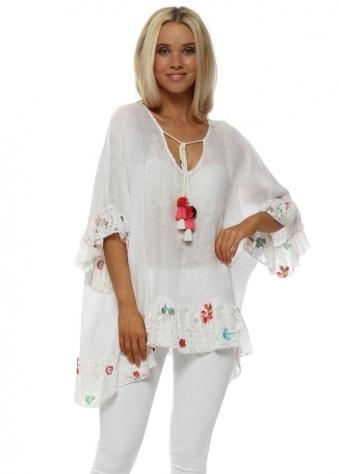 White Linen Floral Lace Trim Kaftan Top
