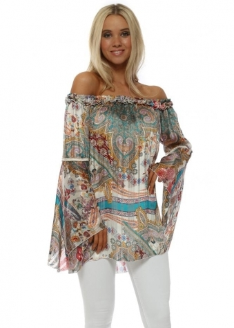 White Paisley Print Bardot Bell Sleeve Tunic Top
