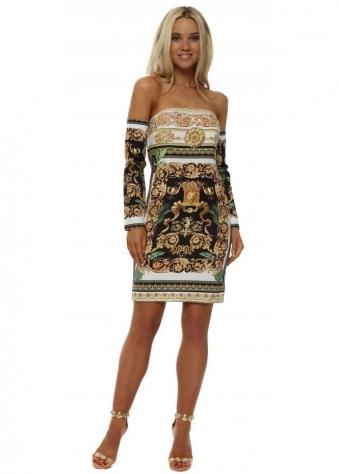 Black Scarf Print Mini Dress