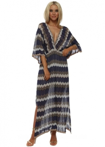 Blue Zig Zag Knit Maxi Dress