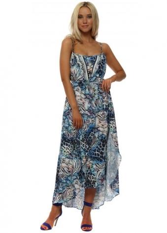 Blue Animal Print Layer Maxi Dress