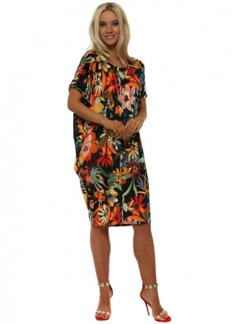 Black Tropical Floral Print Tunic Dress