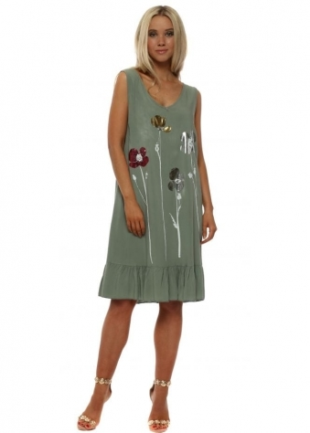 Khaki Metallic Flower Silk Dress