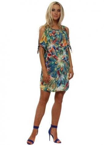 Blue Floral Print Cold Shoulder Tunic Dress
