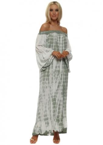 Khaki Off The Shoulder Tie Dye Maxi Dress