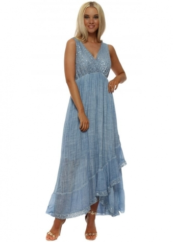 Blue Sequinned Cotton Maxi Dress