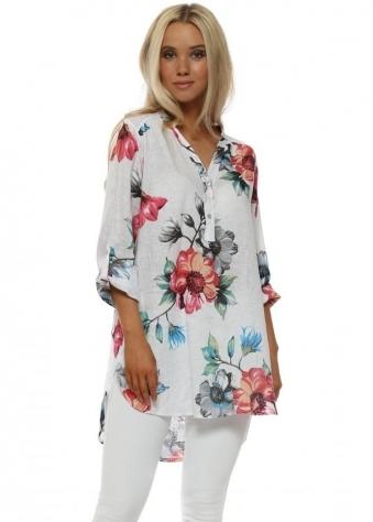 White Floral Print Linen Shirt