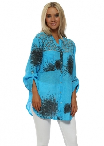 Turquoise Sketch Print Linen Shirt