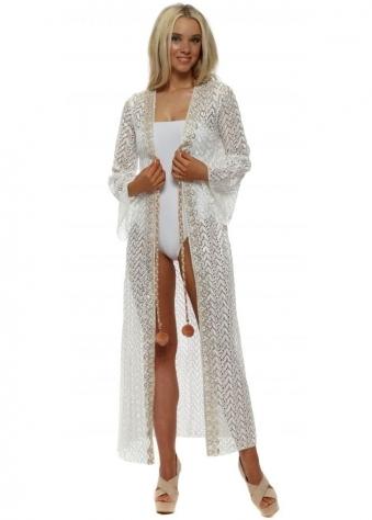 White Zig Zag Knit Pom Pom Tie Kimono Cardigan