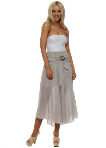 Light Mocha Linen Belted Skirt