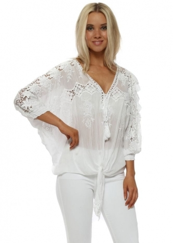 White Floral Crochet Lace Tie Front Top