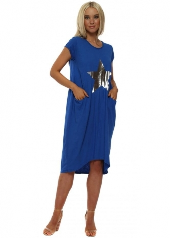 Royal Blue Star Print Cotton T-Shirt Dress