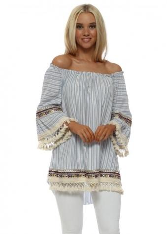 Blue Stripe Cotton Bardot Top